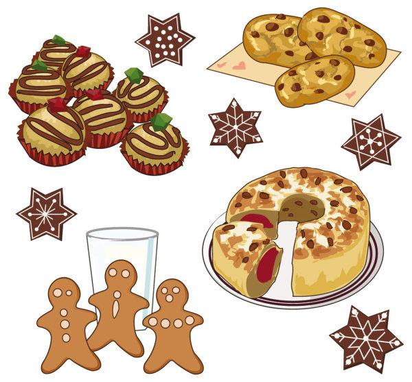 Cartoon Pastries Bread Snacks Cookies Food