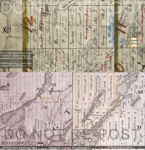 Maps  Historical Atlases of the North Reach of Loughborough Lake     Maps  Historical Atlases of the North Reach of Loughborough Lake area of  Storrington Twp   Frontenac Co  in 1860 and 1878