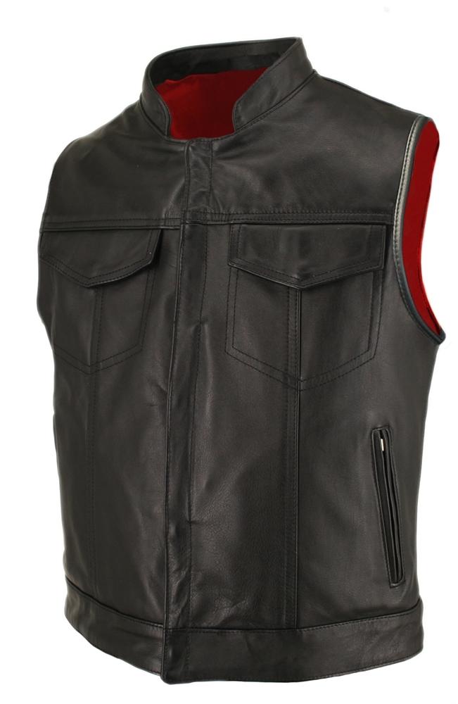 Denim Motorcycle Vests Men Side Laces