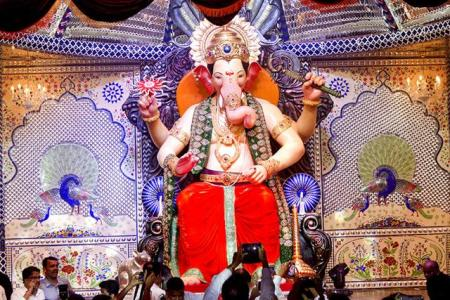 Behind the scenes at Lalbaugcha Raja Ganesh pandal  A team for     First look of Mumbai s most famous Ganesh idol   Lagbaugcha Raja   unveiled  at Lalbaug  in Mumbai   Satish Bate HT photo