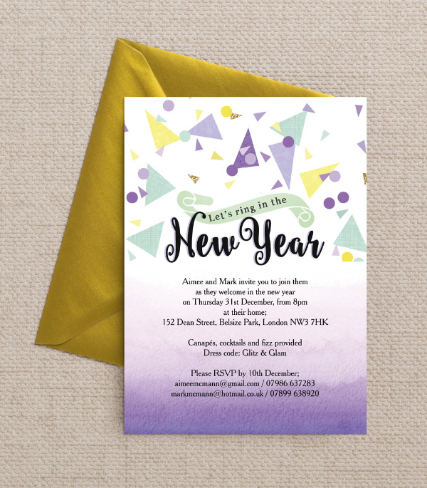 Printable   Printed New Year s Eve Party Invitations DIY Printable Printed Mint Green Lilac Yellow Gold Black White Confetti  Glitter Watercolour Calligraphy Confetti New