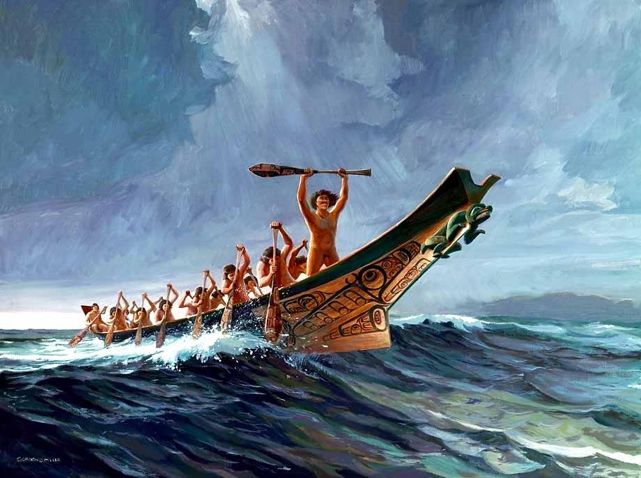 Watercolor Canoe Pacific Coast