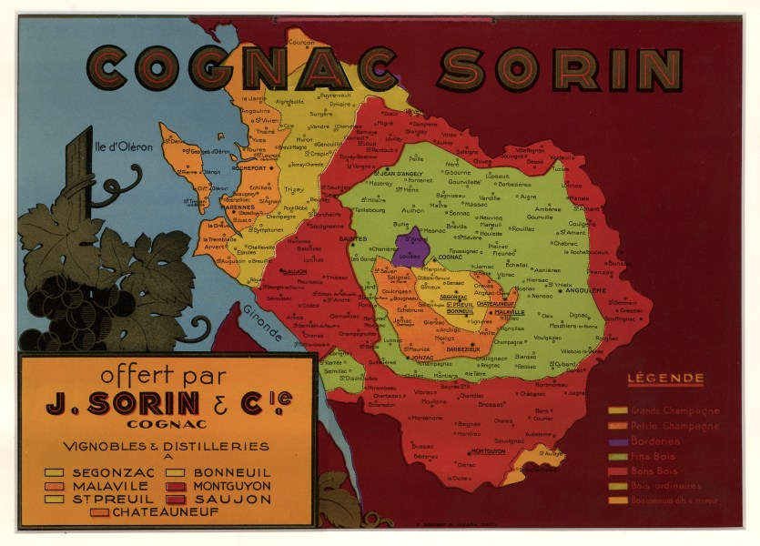Vintage Map Sign  Cognac Sorin 1930   hjbmaps com     HJBMaps com     High Resolution Image