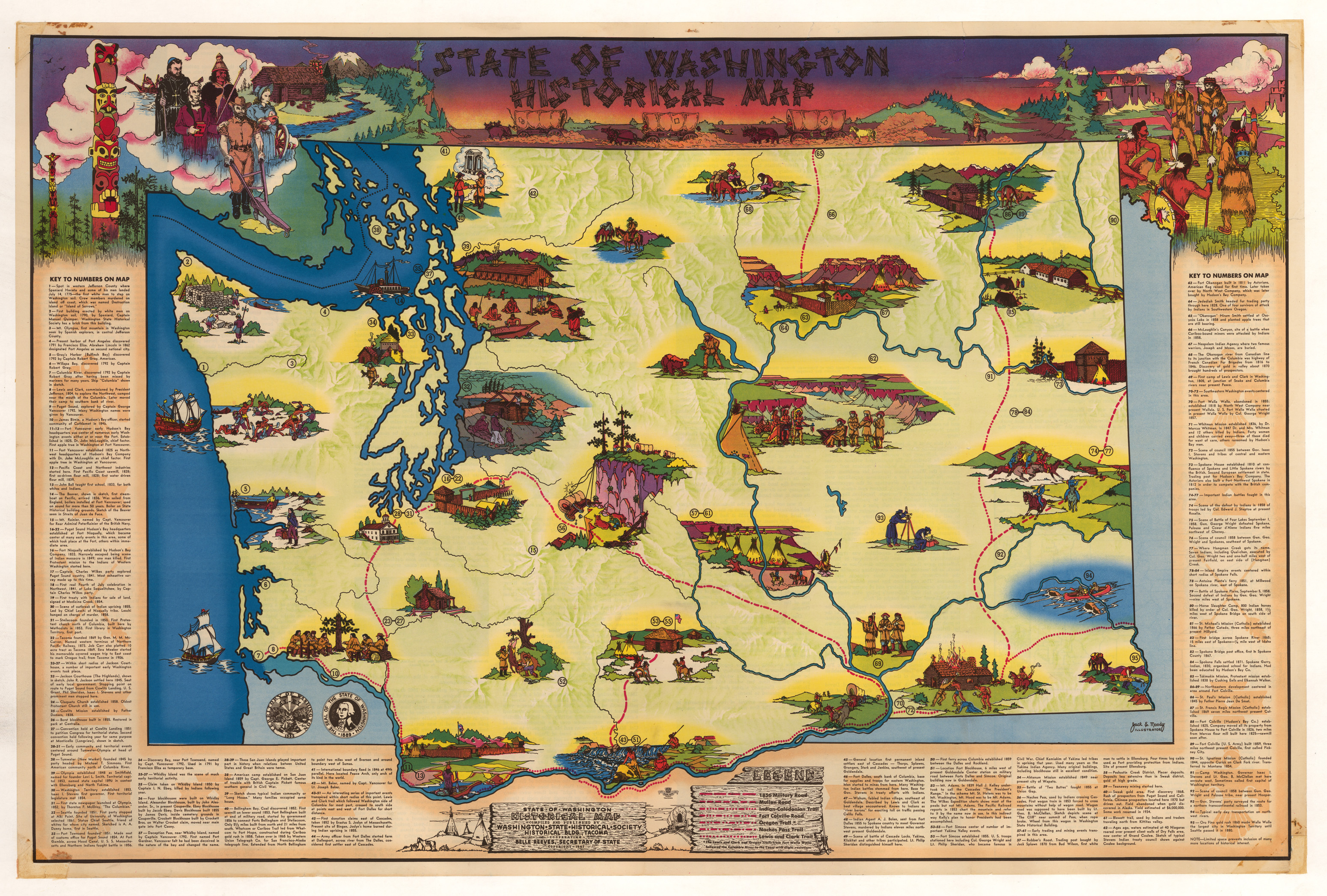 Vintage Pictorial Map of the State of Washington 1947   hjbmaps com     High Resolution Image