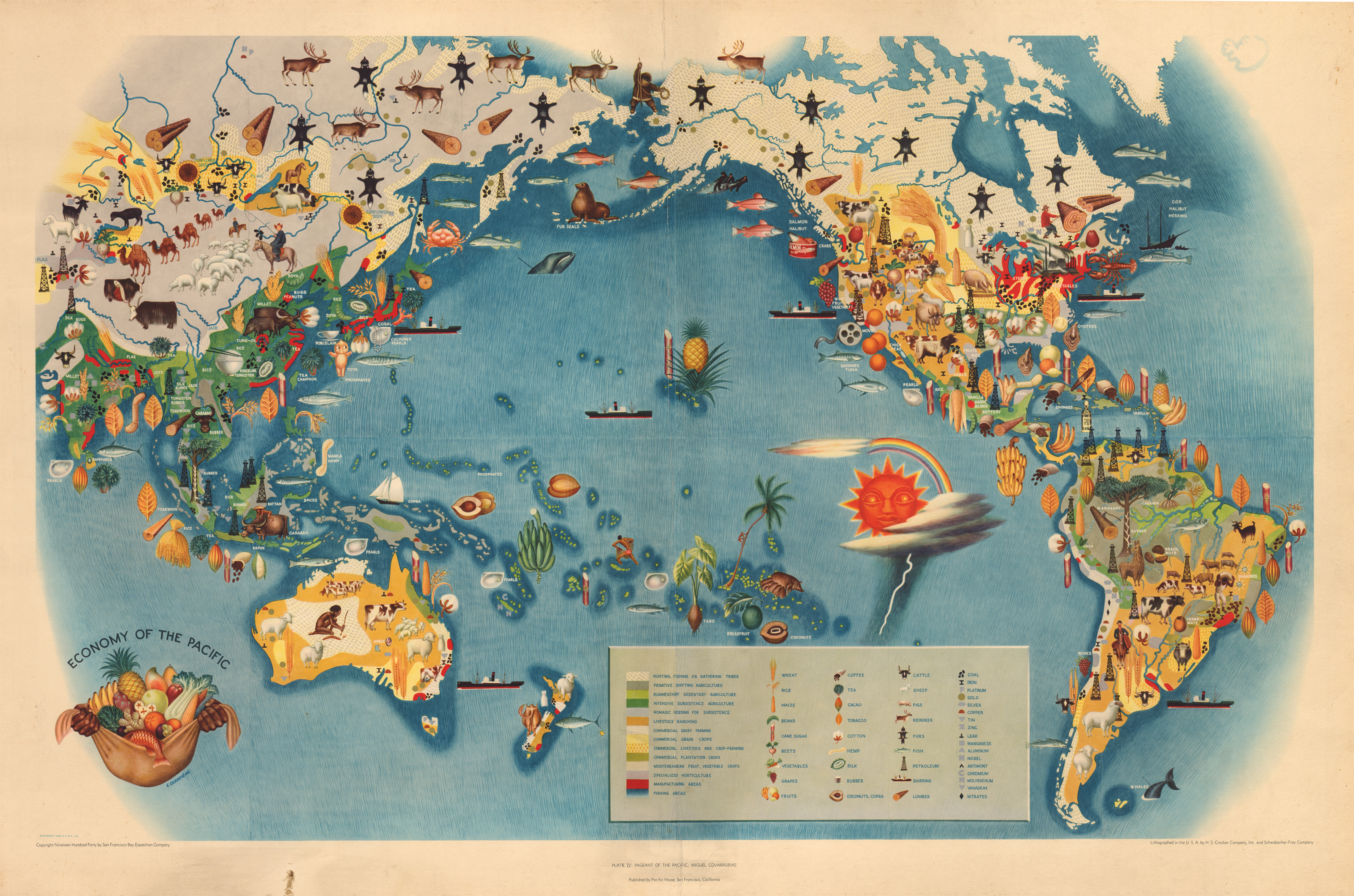 Vintage Pictorial Map of the Pacific 1940   hjbmaps com     HJBMaps     High Resolution Image