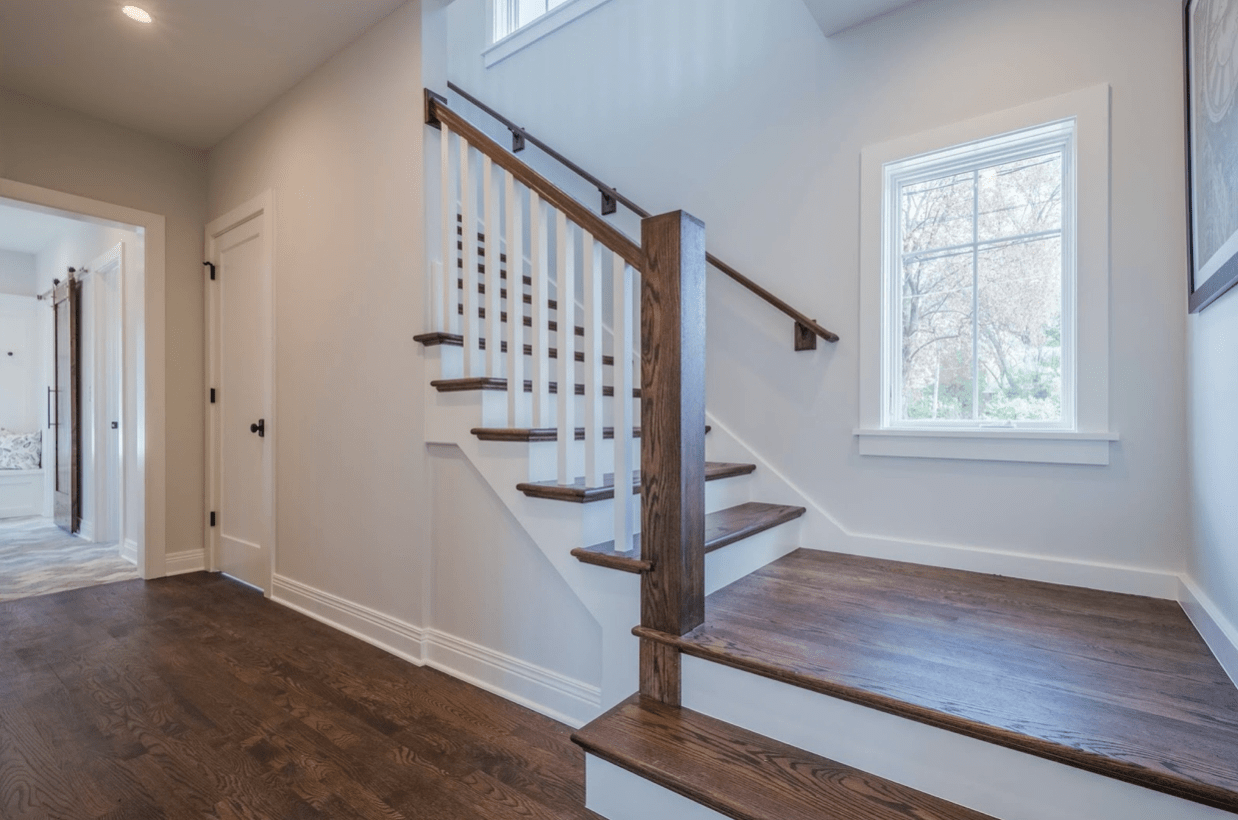 A Guide To Disinfecting Cleaning Your Wood Banisters | Wooden Banisters And Railings | Stairwell | Small | Industrial | Balcony | Dark Walnut