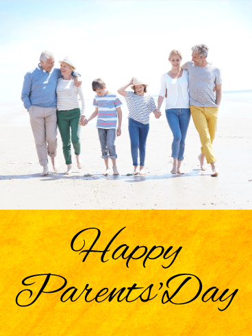 Walking On The Beach Happy Parents Day Card Birthday