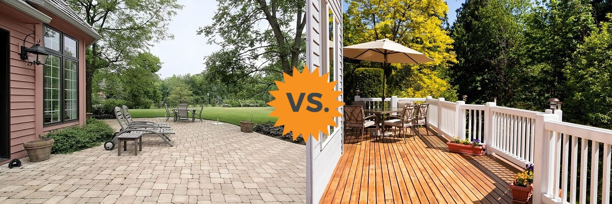 2020 Deck Vs Patio Guide Costs Differences Concrete Or Wood | Replacing Concrete Steps With Wood | Stringers | Stair Railing | Composite Decking | Pouring Concrete | Concrete Slab