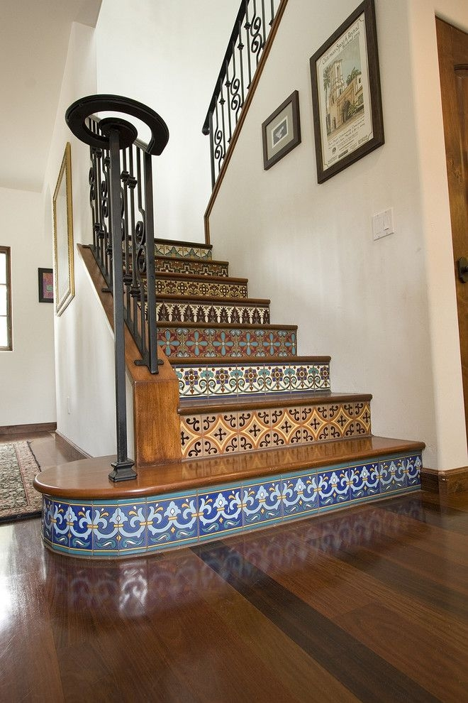 Dolphin Carpet And Tile For A Mediterranean Staircase With A   Carpet And Tile Stairs   Gray   Backsplash   Carpeted   Tiled Hallway Carpet   Before And After