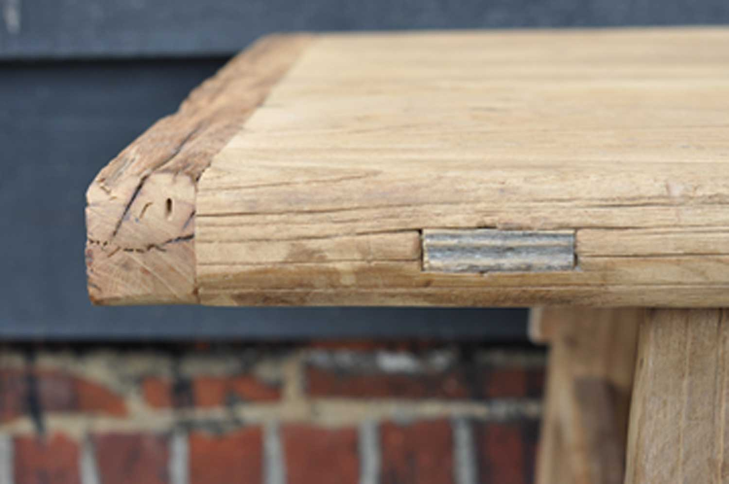 Rustic Reclaimed Elm Coffee Table With Rail Amp Stretcher Base