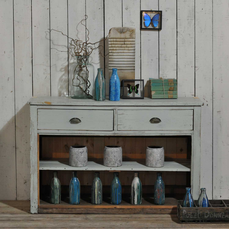 Vintage Cabinet Open Shelving Kitchen Island Pale Blue