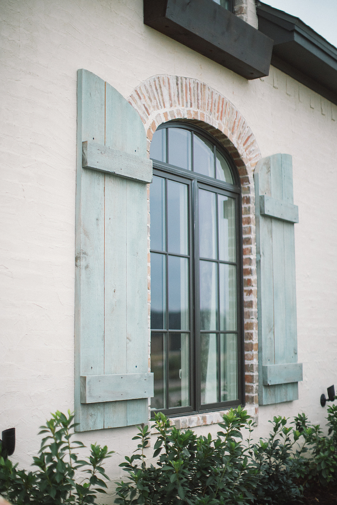 Door Shutters French Country And Cedar White Stucco Exterior