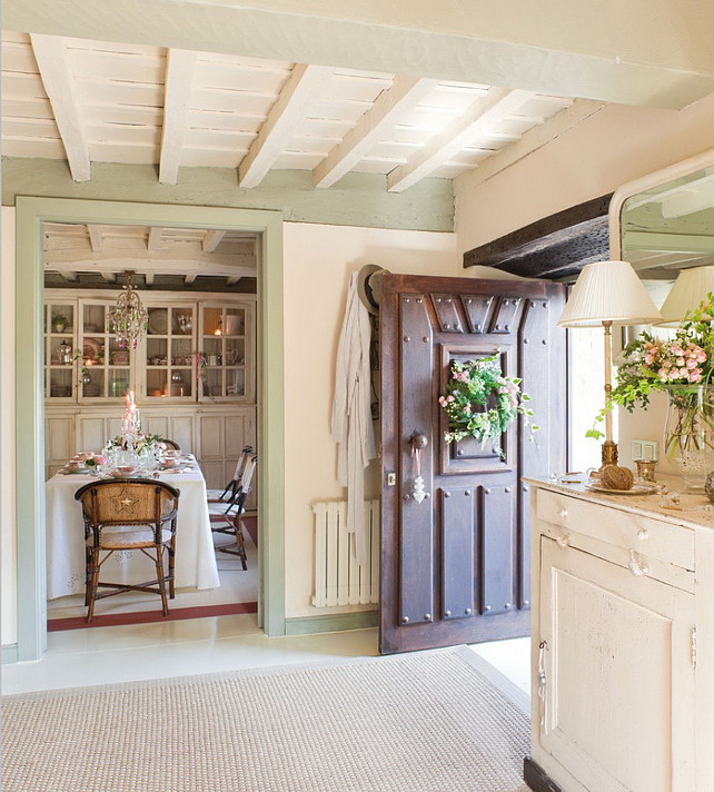 French Country Cottage with Christmas Decor   Home Bunch Interior     French Country Cottage with Christmas Decor  Paint Color   Benjamin Moore  Guilford Green HC 116   Part of Benjamin