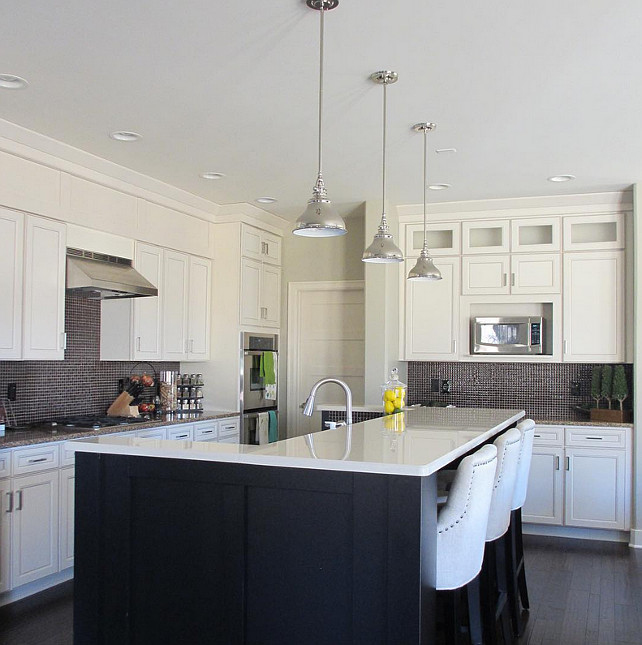 White Kitchen Dark Island