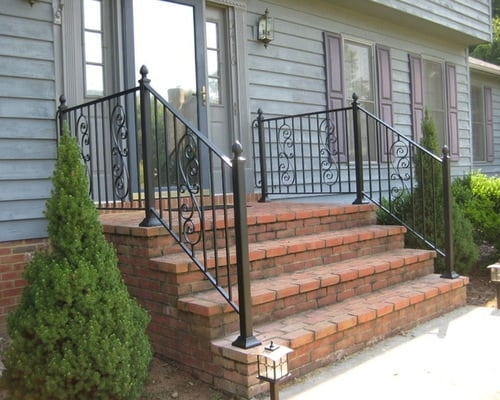 Decorative Outdoor Handrails To Add The Beauty Of The Stairs | Exterior Handrails For Steps | Cast Iron | 3 Step | Brushed Nickel | Front Step Railing Pipe | Garden