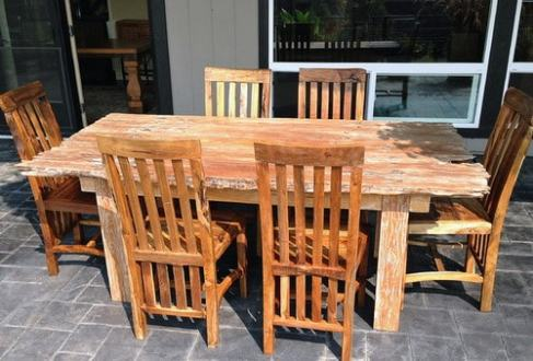 Most Popular Solid Wood Garden Furniture   Home Decor Help   Home     Rustic Reclaimed Teak Dining Table   Chairs Rustic Outdoor Dining Sets  Garden Furniture     boise     by Impact Imports