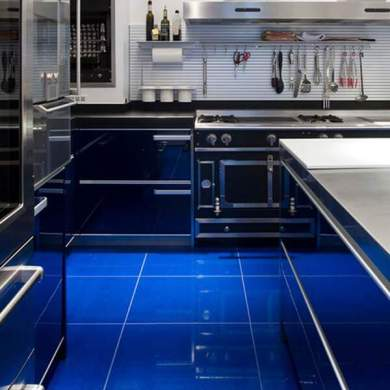 36 Kitchen Floor Tile Ideas  Designs and Inspiration June 2017     These glossy electric blue tiles are beautifully dramatic against the  utilitarian kitchen fittings