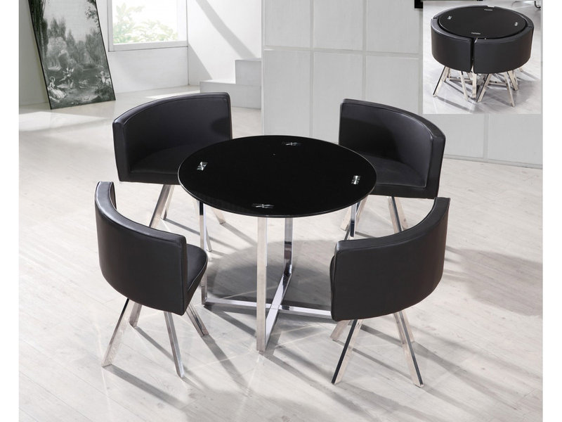 Round Black Glass Amp Chrome Dining Table And 4 Chairs