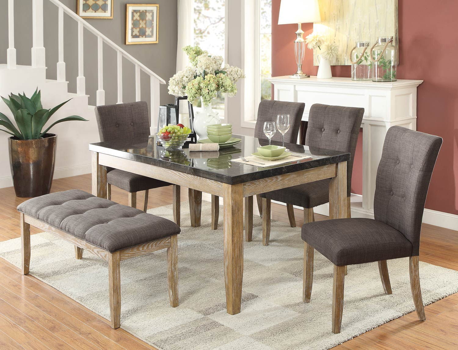 Homelegance Huron Dining Set Faux Marble Top Weathered