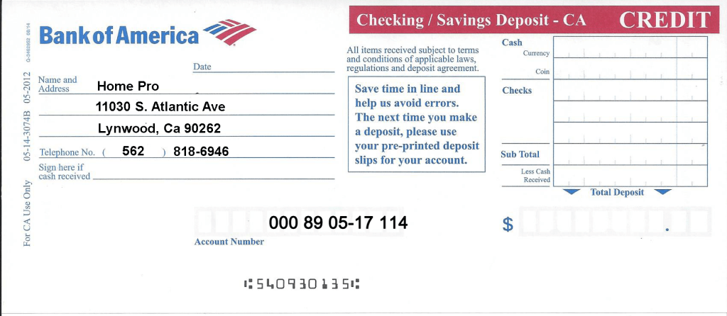Bank Of America Account Number On Check