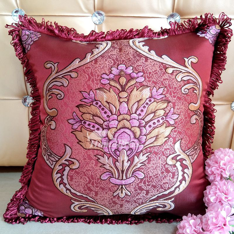 Decorative Pillows For Couch Burgundy Blue Brown Polyester