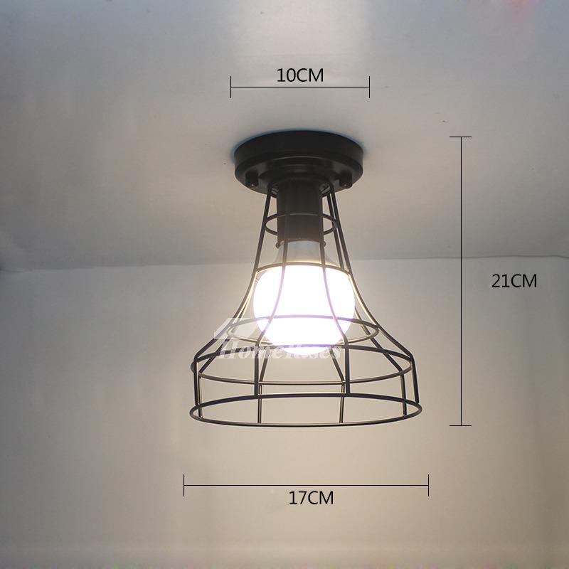 Industrial Ceiling Lights Semi Flush Black Wrought Iron