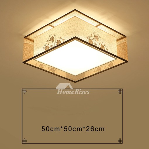 Square Flush Mount Ceiling Light Modern Asian Bedroom Fixture Fabric
