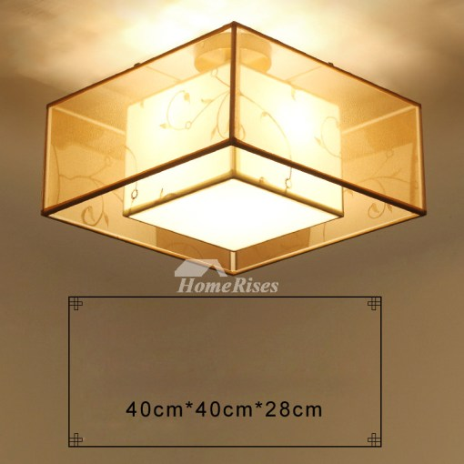 Flush Mount Ceiling Light Drum Fabric Round Square Living Room Asian