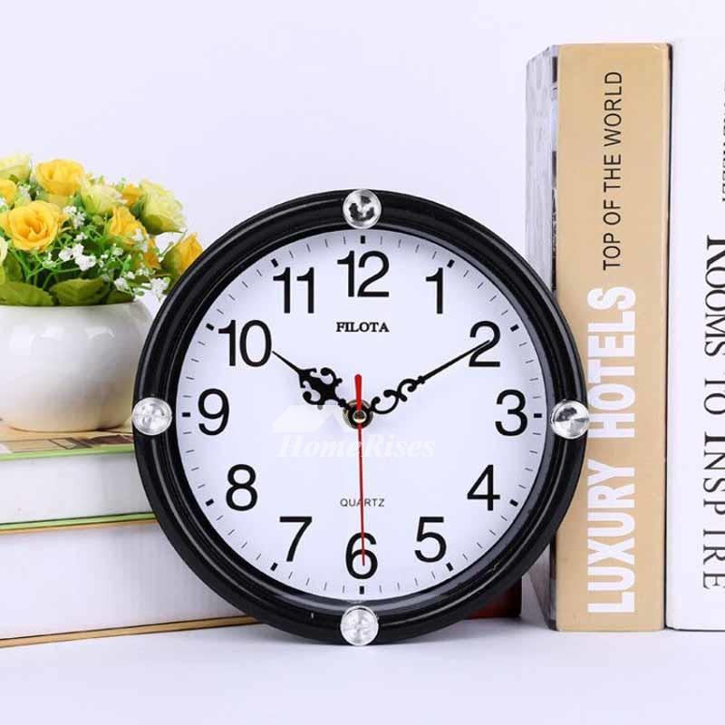 Small Wall Clocks Round White Black Cheap Kids Plastic