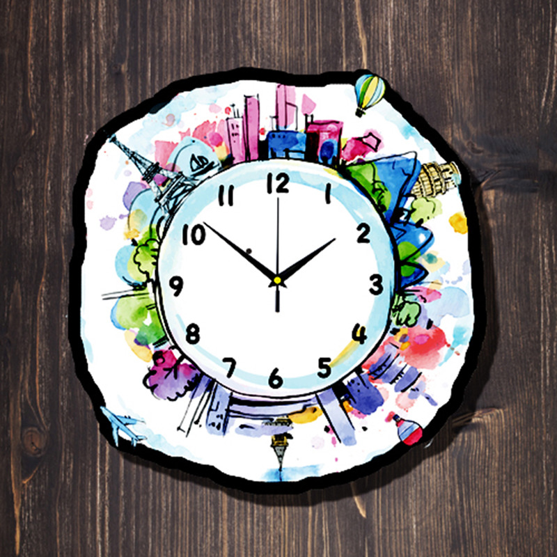 Cute Wall Clock Creative Kids Decorative Painted Travel