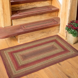 Braided Stair Treads Shop Woven Stair Treads Online Homespice   Braided Stair Tread Rugs   Olive Burgundy   Tree Hill   Rhody Rug   Shape Oval   Indoor Outdoor
