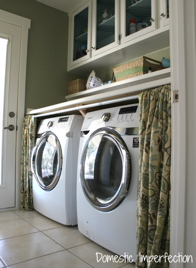 25 Small Laundry Room Ideas front loading washer and dryer with counter and