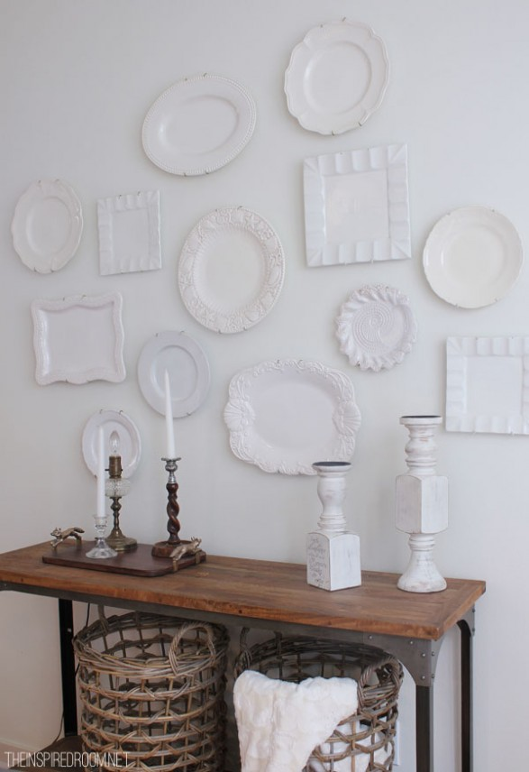 How to Decorate with Plates on a Wall Hang white plates on wall  Easy and inexpensive decorating with plates
