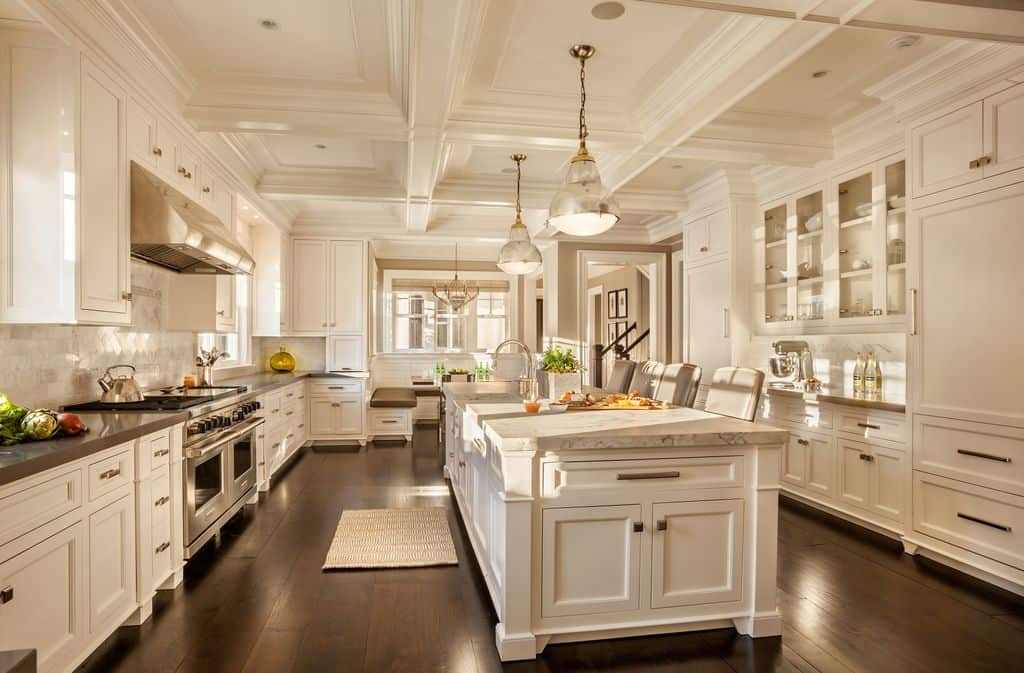 30 Custom Luxury Kitchen Designs that Cost More than  100 000 Go All White with Custom Ornate Woodwork  Dream White kitchen