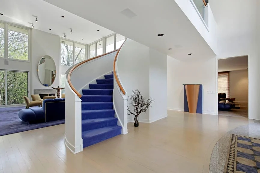 70 Staircases With Carpet Floors Photos   Blue Carpet On Stairs   Wooden   Grey Stair White Wall   Antelope   Geometric   Gray