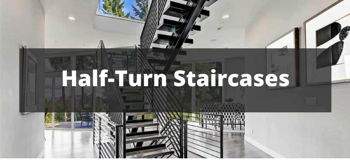 45 Half Turn Staircase Ideas Photos | Half Round Stairs Design | Half Circle Staircase | Frame | Plan | Metal | Indian Style