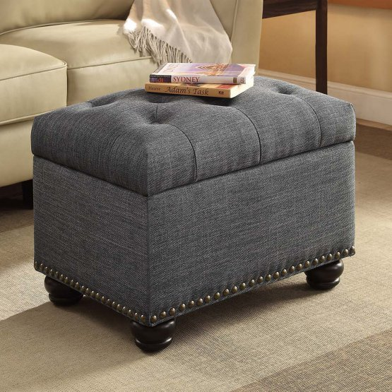Gray Leather Storage Ottoman
