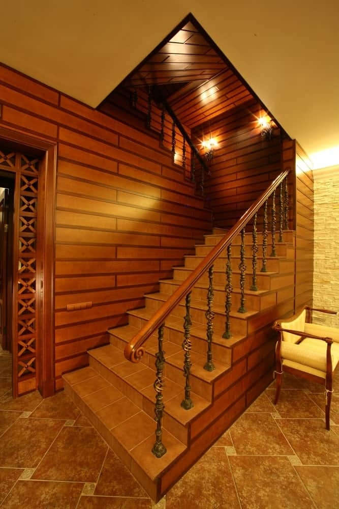 50 Staircases With Tile Flooring Photos | Duplex House Staircase Wall Design | Contemporary | Textured | Apartment Duplex | Fancy | Stair Wall Paint