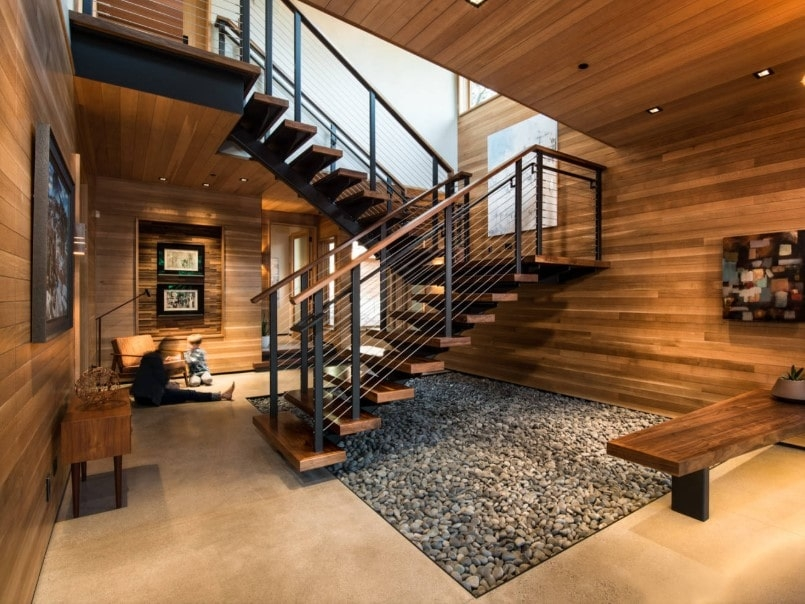 55 Staircases With Hardwood Floors Photos | Hardwood Steps For Stairs | Modern White Oak Stair | Cover | Iron Baluster | Unfinished | Staircase