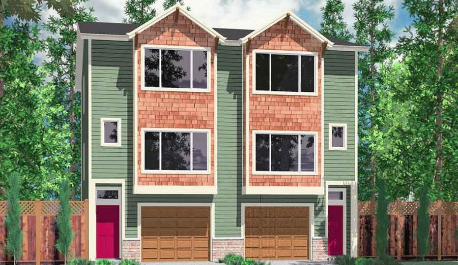 Duplex House Plans  Narrow Lot Townhouse Plans  D 526
