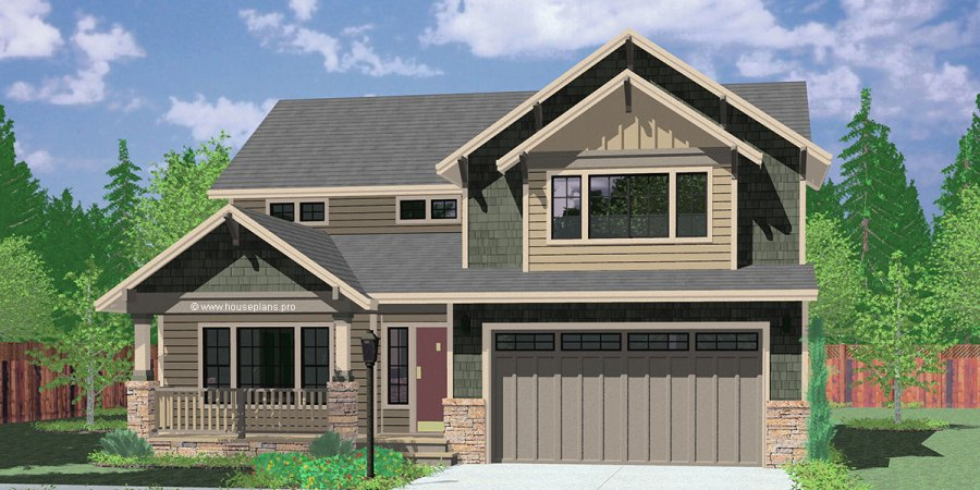 Narrow Lot House Plans  Building Small Houses for Small Lots 9950 fb 4 bedroom house plans  craftsman house plans  40 ft wide house