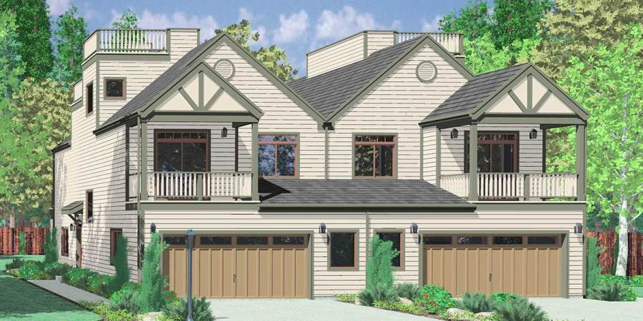 Multi Family House Plans duplex plans  triplex plans  4 plex plan D 432 Mediterranean duplex house plans  beach duplex house plans  vacation house  plans
