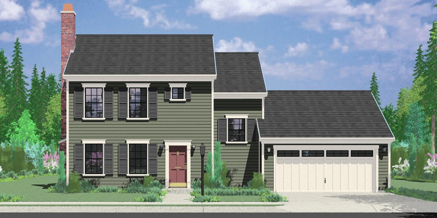 Colonial House Plan 3 Bedroom  2 Bath  2 Car Garage