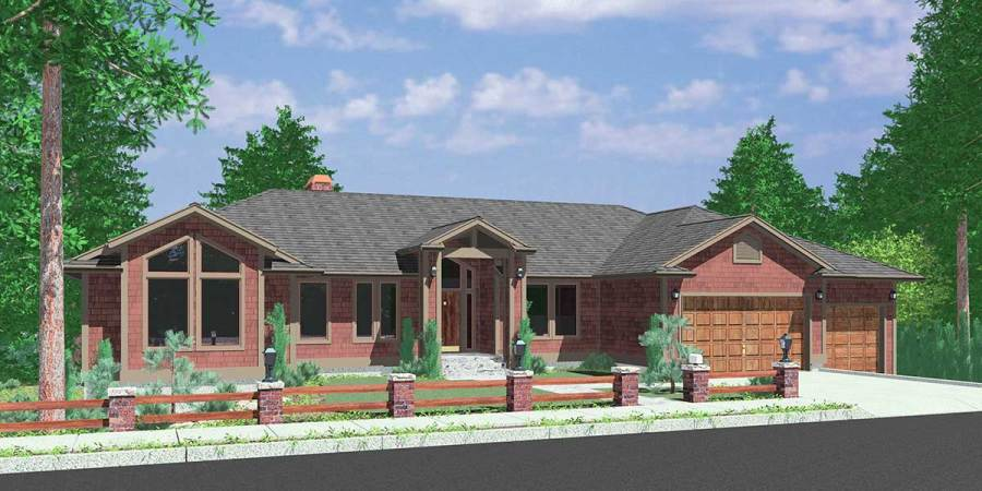 Walkout Basement House Plans  Daylight Basement on Sloping Lot 10072 Custom Ranch house plan w  daylight Basement and RV Garage