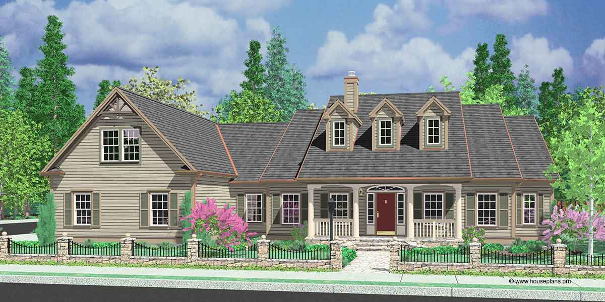 Colonial House Plans Dormers Bonus Room Over Garage Single Level Colonial house plans  single level house plans  house plans with bonus  room  one story house plans  house plans with side garage  corner lot house  plans