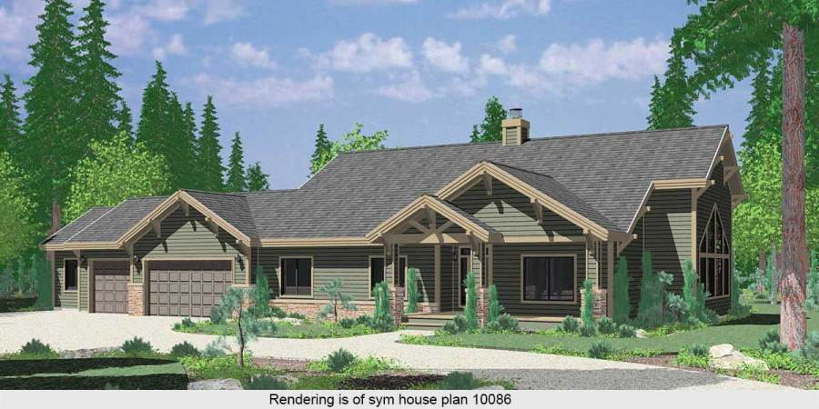 Ranch House Plans  American House Design  Ranch Style Home Plans 10037 Large Ranch House Plan featuring Gable Roofs