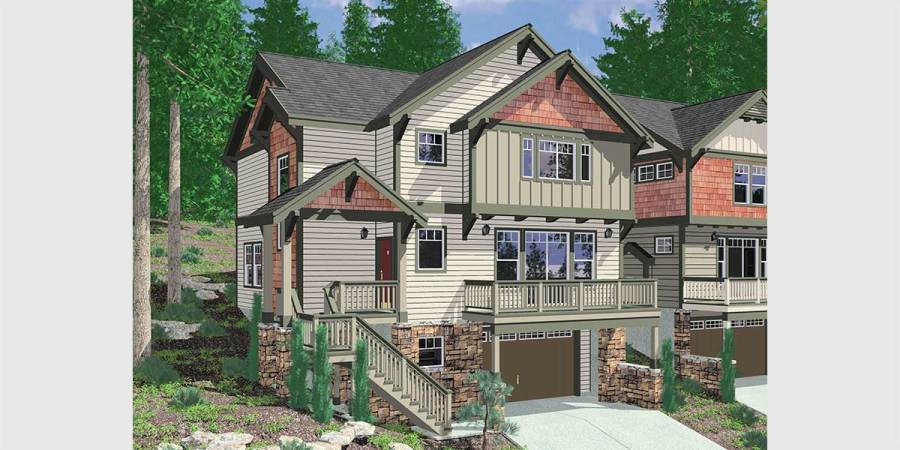 Single Family House Plans Floor Plans Home Plans Portland NW 10110 Craftsman house plan for sloping lots has front Deck and Loft
