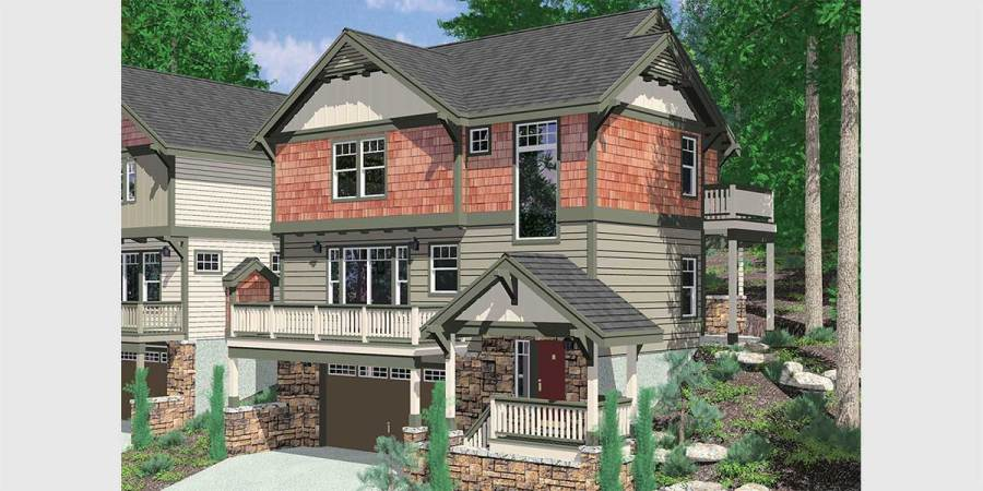 Daylight Basement House Plans  Floor Plans for Sloping Lots 10111 Craftsman house plan for sloping lots has front and rear decks