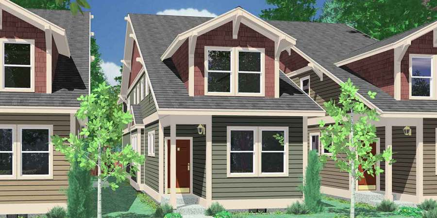 Narrow Lot House Plans  House Plans With Rear Garage  10119 House front color elevation view for 10119 Narrow lot house plans  house  plans with rear