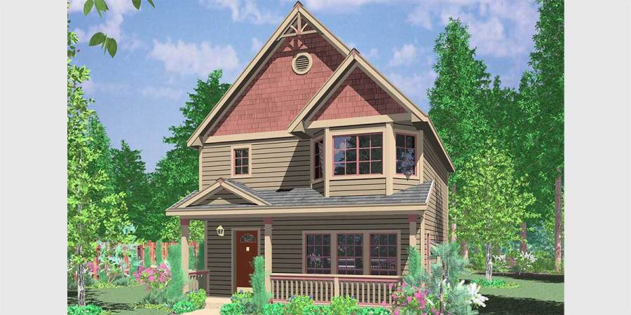Narrow Lot House Plans  Building Small Houses for Small Lots 10091 Victorian house plans  Narrow Lot House Plans  house plans with bay  windows